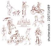 urban people sketch decorative... | Shutterstock .eps vector #220711489