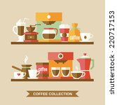 coffee flat collection drink... | Shutterstock .eps vector #220717153