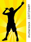 man singing with a microphone ... | Shutterstock .eps vector #220724689