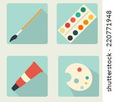 vector flat stationery icon set | Shutterstock .eps vector #220771948