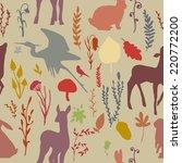 forest wildlife seamless...   Shutterstock .eps vector #220772200