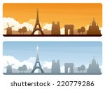 eiffel tower and silhouetted... | Shutterstock .eps vector #220779286