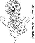 mummy bust line art | Shutterstock .eps vector #220795009