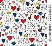 sea doodle hipster background ... | Shutterstock .eps vector #220810150