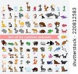 Stock vector super set of cute cartoon animals 220812583