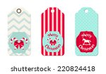 three christmas  tags in shabby ...   Shutterstock .eps vector #220824418