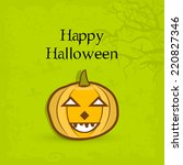 scary pumpkin on dead tree... | Shutterstock .eps vector #220827346