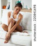 beautiful woman sitting on a...   Shutterstock . vector #220841698