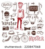 hipster doodle set  hand drawn... | Shutterstock .eps vector #220847068