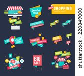 set of flat design shopping... | Shutterstock .eps vector #220849000