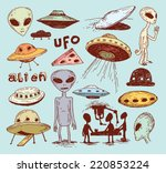 set of alien and ufo icon  hand ... | Shutterstock .eps vector #220853224
