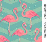 seamless pattern with flamingo... | Shutterstock . vector #220863538