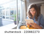 Fashion Woman Using Tablet With ...