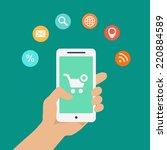 smartphone apps infographics... | Shutterstock .eps vector #220884589
