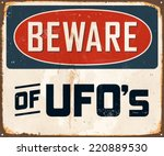 vintage metal sign   beware of... | Shutterstock .eps vector #220889530