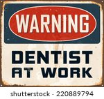 vintage metal sign   warning... | Shutterstock .eps vector #220889794