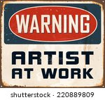 vintage metal sign   warning... | Shutterstock .eps vector #220889809