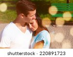 the girl hugged her boyfriend  | Shutterstock . vector #220891723