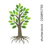 Tree With Roots Icon. Vector...