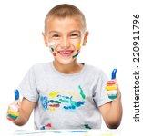 portrait of a cute boy playing... | Shutterstock . vector #220911796