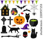 set of halloween symbols | Shutterstock .eps vector #220957153