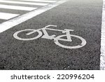 bicycle sign on bicycle way | Shutterstock . vector #220996204