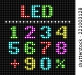 led display numbers. vector.   Shutterstock .eps vector #221003128