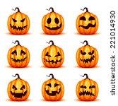 vector pumpkin set for halloween | Shutterstock .eps vector #221014930