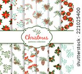 seamless christmas patterns.... | Shutterstock .eps vector #221025400