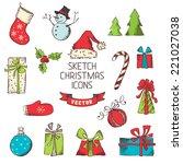 Sketch Christmas Icons. Hand...