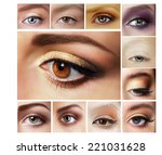 beauty set of eyeshadow....   Shutterstock . vector #221031628