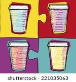 Cups In Pop Art Style In Vector....