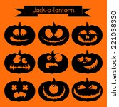 jack o' lantern. set of 9 black ... | Shutterstock .eps vector #221038330