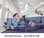 Flying  girl in an airplane. Creative concept . photo combination