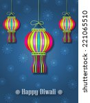 hanging colorful diwali lamps ... | Shutterstock .eps vector #221065510