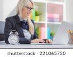 hard working woman is always on ... | Shutterstock . vector #221065720