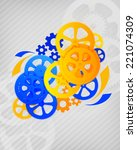 abstract illustration of gears... | Shutterstock . vector #221074309