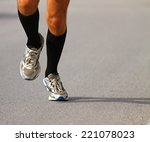 very fast runner with sneakers...   Shutterstock . vector #221078023
