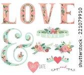 set of wedding invitation... | Shutterstock .eps vector #221079910
