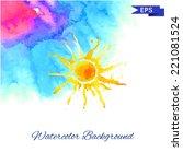 watercolor vector background in ... | Shutterstock .eps vector #221081524