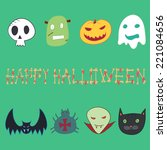 halloween  card. monster head.   Shutterstock .eps vector #221084656