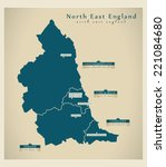 modern map   north east england ... | Shutterstock .eps vector #221084680