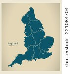 Modern Map   England With...
