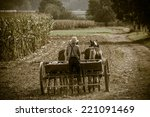 Young Amish Farmer Sowing A...