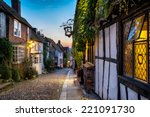 dusk at a row of beautiful old... | Shutterstock . vector #221091730
