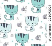 Stock vector lovely cute cat pattern vector illustration 221093029
