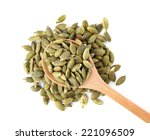 pumpkin seeds on a white... | Shutterstock . vector #221096509