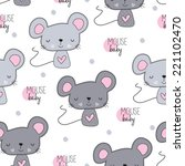 Cute Mouse Pattern Vector...