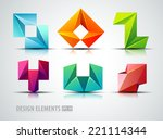 vector abstract logo shapes set | Shutterstock .eps vector #221114344
