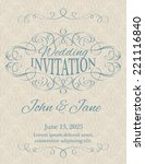 invitation with calligraphy... | Shutterstock .eps vector #221116840